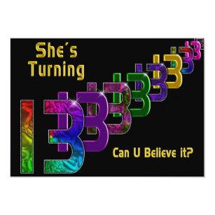 Girls 13th Birthday Invitations