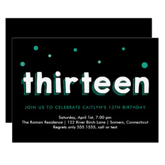 13th Birthday Invitation, Sketched Letters, Teal Card