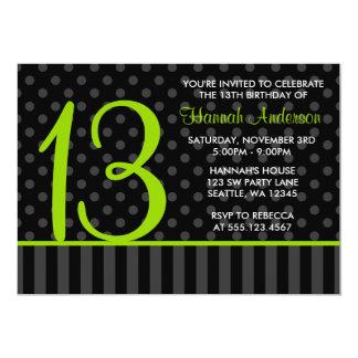 13th Birthday Lime Green Black Polka Dot Stripes 5x7 Paper Invitation Card
