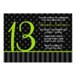 13th Birthday Lime Green Black Polka Dot Stripes Announcements