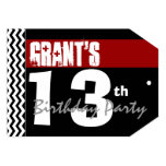 13th Birthday Modern For Him Red White Black B04 Custom Announcements