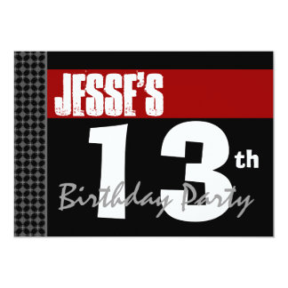 13th Birthday Modern For Him Red White Black G200 Card