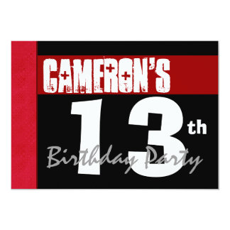 13th Birthday Modern For Him Red White Black G208 Card