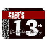 13th Birthday Modern For Him Red White Black G213A Invitations