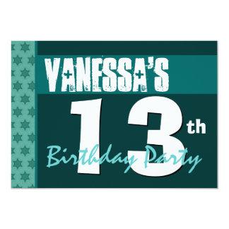 13th Birthday Modern Green Pattern Recycled 207 5x7 Paper Invitation Card