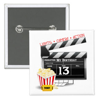 13th Birthday Movie Party 2 Inch Square Button