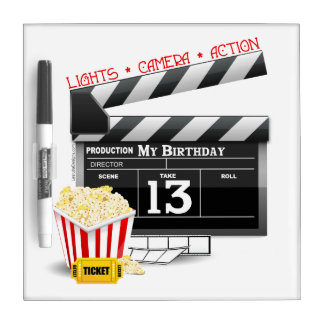 13th Birthday Movie Party Dry Erase Board