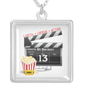 13th Birthday Movie Party Silver Plated Necklace