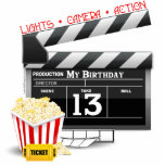 "13th Birthday Movie Party Statuette<br><div class=""desc"">13th Hollywood Film Movie theme Birthday party t-shirts,  cake toppers,  cake plates,  party favors,  cards,  buttons for your Movie themed birthday party. 13th birthday presents and decorations with film movie clapboard,  popcorn,  lights,  camera,  action and the number 13. 13 year old gifts for people turning 13.</div>"