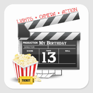 13th Birthday Movie Party Square Stickers