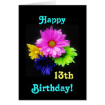 13th Birthday Neon daisies Cards