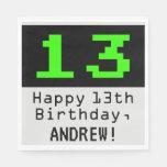 """[ Thumbnail: 13th Birthday - Nerdy / Geeky Style """"13"""" & Name Napkins ]"""