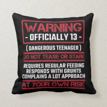 13th Birthday Officially Teenager 13 Year Old Kid Throw Pillow
