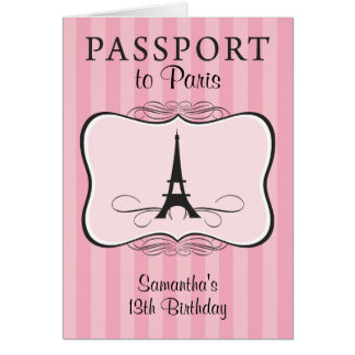 13TH Birthday Paris Passport Invitation