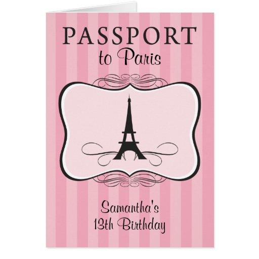 13TH Birthday Paris Passport Invitation Cards