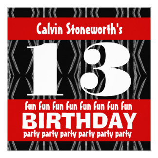 13th Birthday Party Black Red White Contemporary Announcement