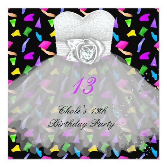 13th Birthday Party Girls 13 Teen Card
