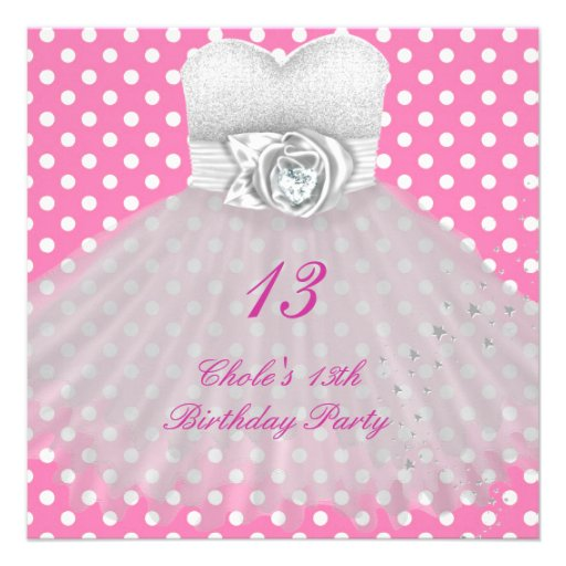 13th birthday party girls 13 teen 5 25 quot square invitation card