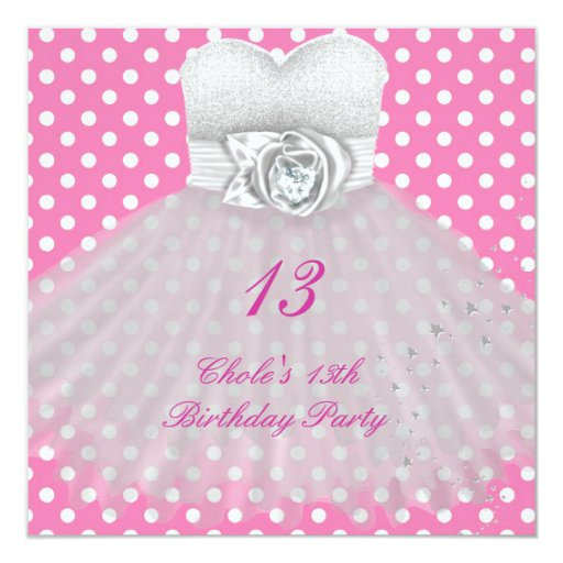 13th birthday party girls 13 teen square invitation
