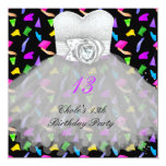 13th Birthday Party Girls 13 Teen 5.25x5.25 Square Paper Invitation Card