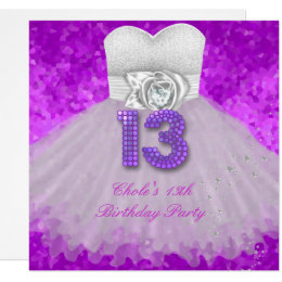 Girls 13th birthday party invitations announcements zazzle 13th birthday party girls purple card filmwisefo Gallery