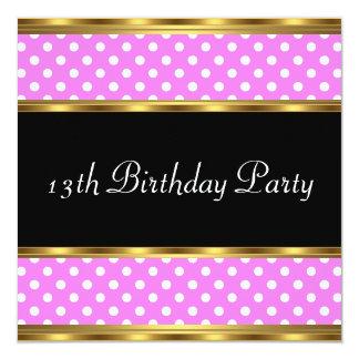 13th Birthday Party Gold Pink Polka dots Card
