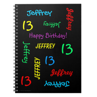13th Birthday Party Guest Book, Repeat Names Black Notebook