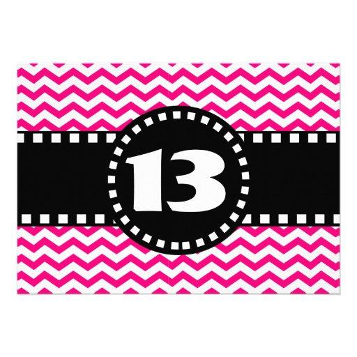 13th Birthday Party Hot Pink Chevrons V01R Custom Invite