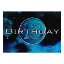 13TH Birthday Party Invitation - Abstract Blues