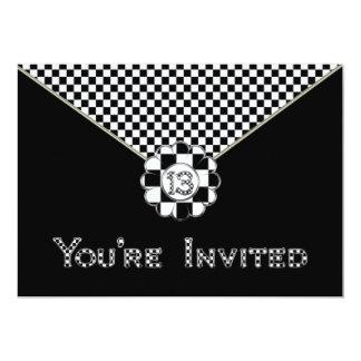 13th BIRTHDAY PARTY INVITATION - BLK/WHT ENVELOPE