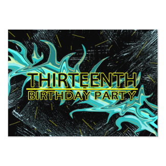13TH BIRTHDAY PARTY INVITATION - BLUE/BLACK/YELLOW