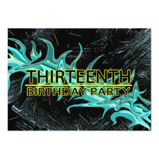 13TH BIRTHDAY PARTY INVITATION - BLUE/BLACK/YELLOW