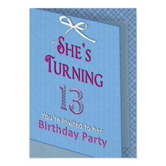 13th Birthday Party Invitation - Card w/in a Card