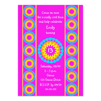 "13th Birthday Party Invitation -- Cool Hot Pink 5"" X 7"" Invitation Card"