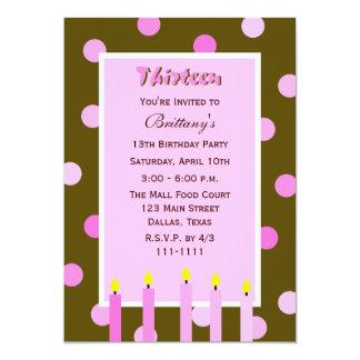 13th Birthday Party Invitation -- Pink Polka Dots Personalized Invitation