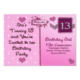 13TH Birthday Party Invitation - Postcard Front