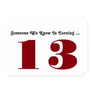 13th Birthday party Invite, dark red and white. Card