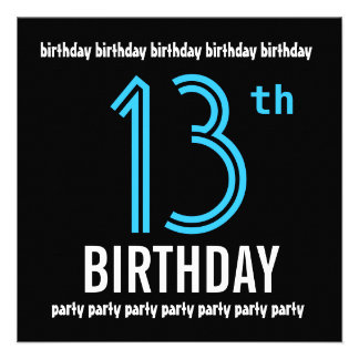 13th Birthday Party Modern Black and Color Number Personalized Invitations