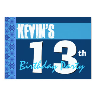13th Birthday Party Modern Blue Recycled 202 5x7 Paper Invitation Card