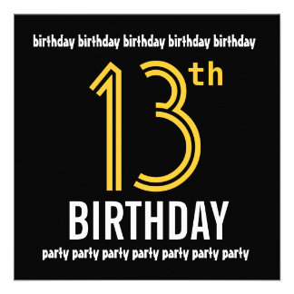 13th Birthday Party Modern Gold and Black Invitations