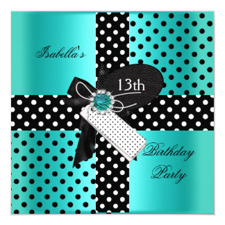 13th Birthday Party Polka Dots Teal Blue Invitation
