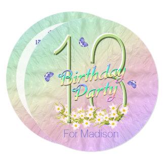 13th Birthday Party Rainbow Butterflies Invitation