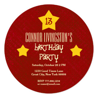 13th Birthday Party Red Circle Gold Stars V03D3 Card