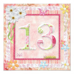 13th birthday party scrapbooking style 5.25x5.25 square paper invitation card