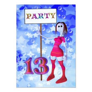 13th Birthday party sign board invitation