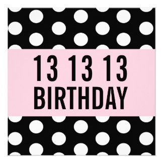 13th Birthday Party Template Polka Dots V01 Announcements