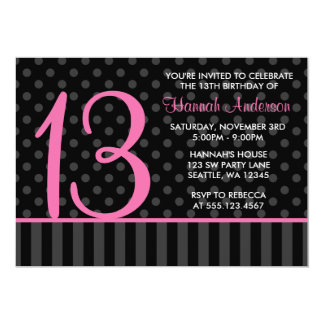 13th Birthday Pink and Black Polka Dot Stripes 5x7 Paper Invitation Card