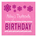 13th Birthday Pink Flowers Girl Custom Name Custom Announcements