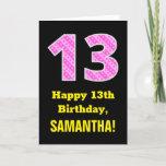 "[ Thumbnail: 13th Birthday: Pink Stripes and Hearts ""13"" + Name Card ]"