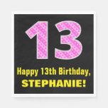 "[ Thumbnail: 13th Birthday: Pink Stripes and Hearts ""13"" + Name Napkins ]"